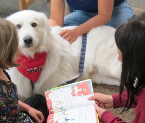 Bow Wow Read to a therapy dog