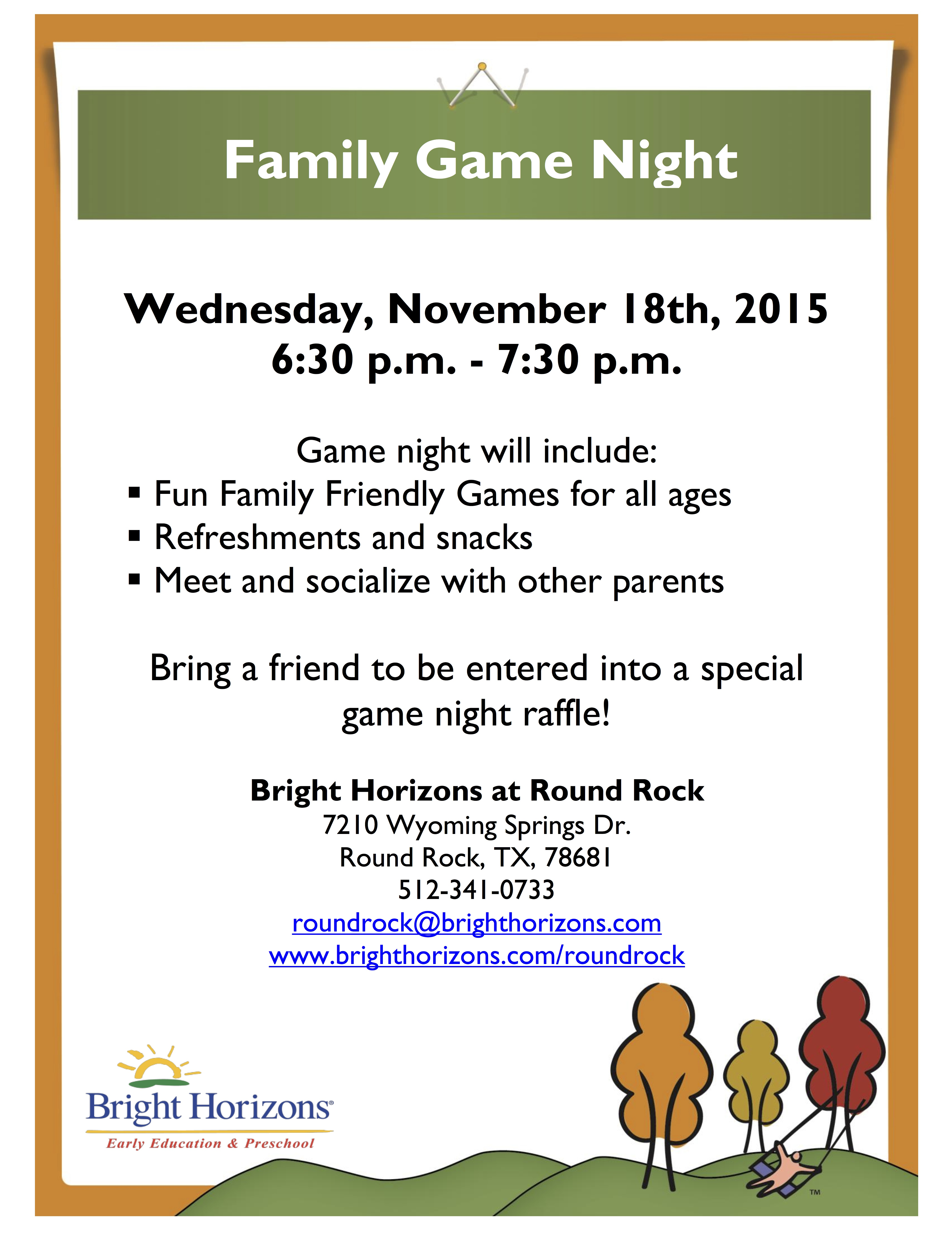 Family Game Night Flyer 2015