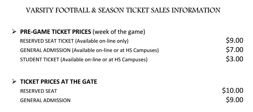 RRISD football prices