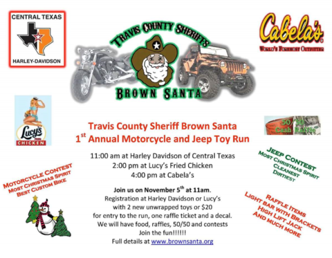 Travis County Sheriff Brown Santa Hosts 1st Annual Motorcycle and Jeep Toy Run