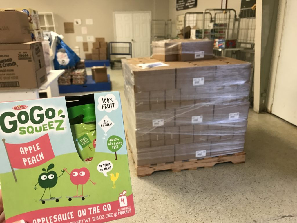GoGo squeez donation to the Backpack Coalition