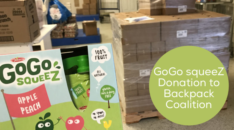 GoGo squeeZ Donation to Backpack Coalition