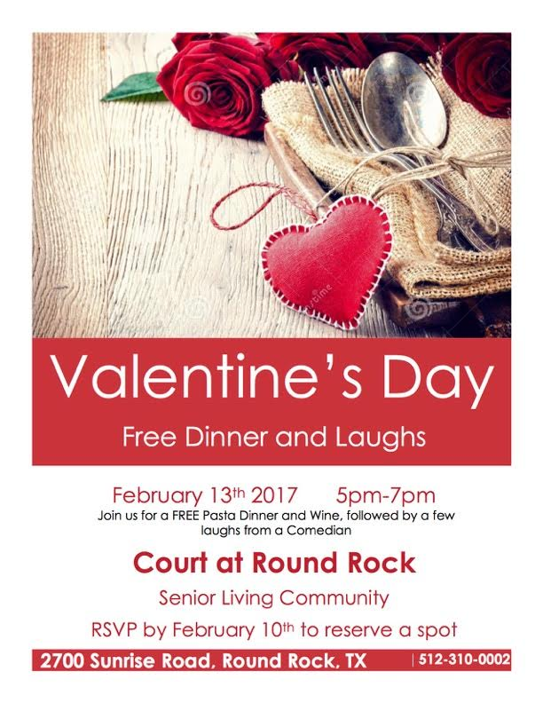 Court at Round Rock Senior Living Free Pasta and Wine Dinner