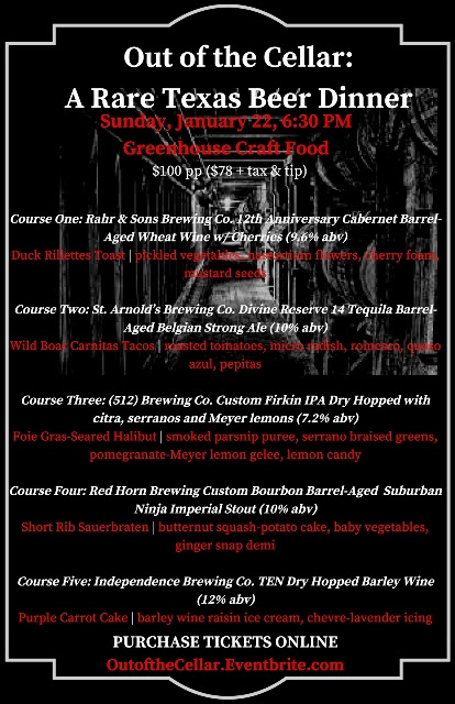 Greenhouse Craft Food 'Out of the Cellar: A Rare Texas Beer Dinner'