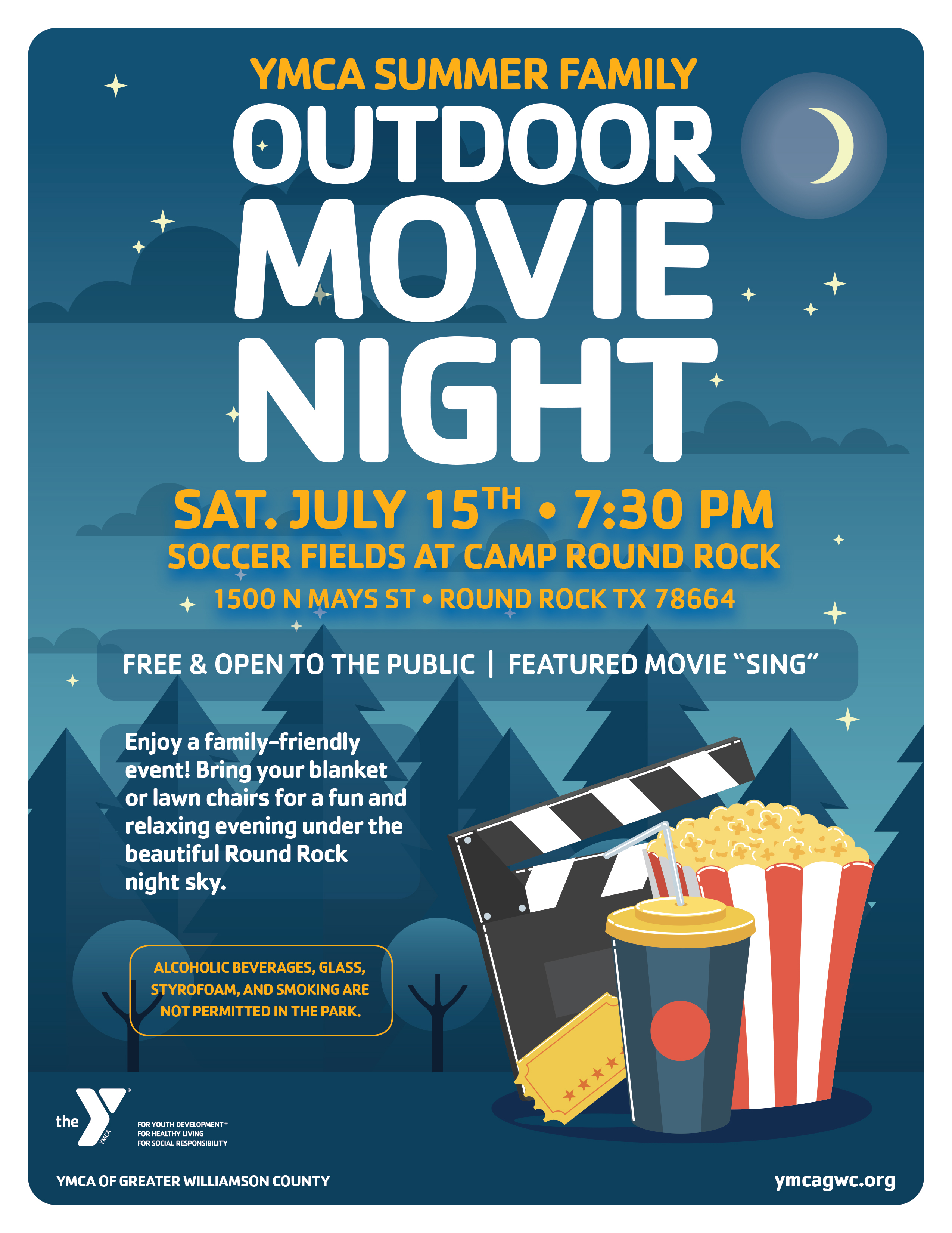 chasco ymca summer family outdoor movie  sing  pg