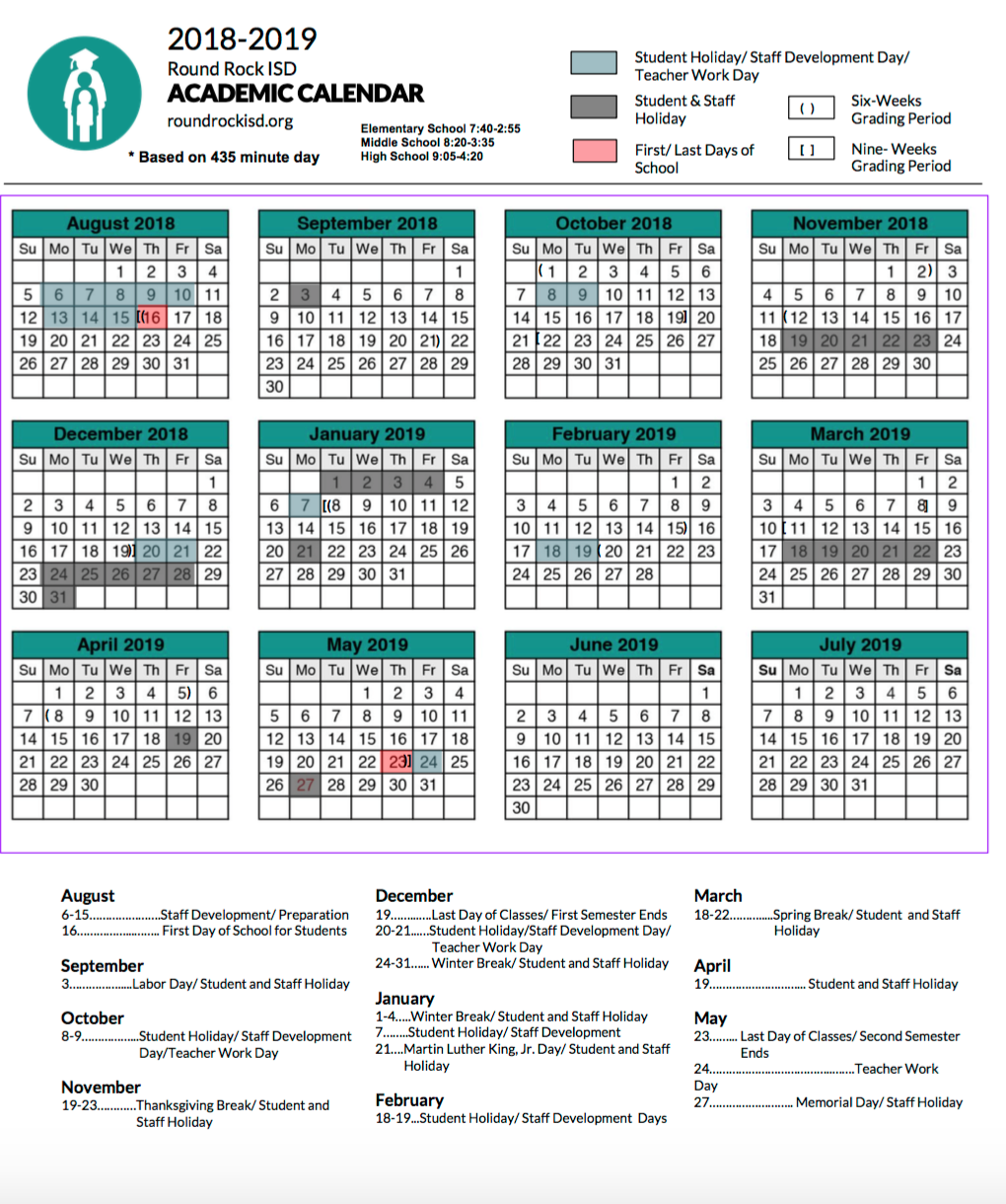 Round Rock Isd Calendar What You Need to Know About the RRISD Academic Calendars for 2018
